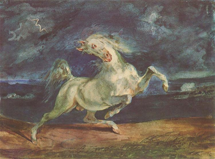 Horse Frightened by a Storm, 1824 - Eugene Delacroix