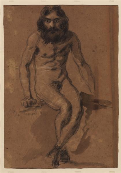 Nude bearded man, seated - Eugene Delacroix