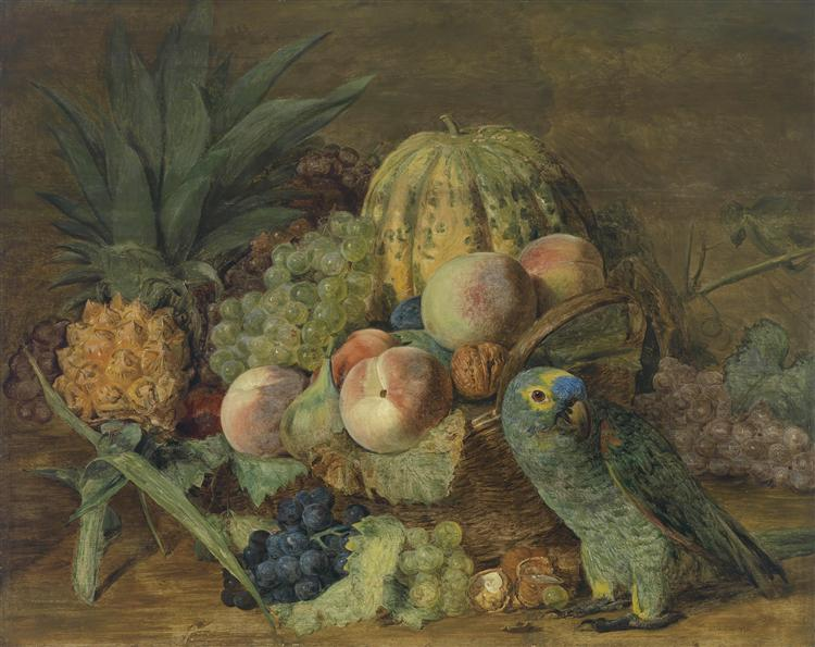 Fruit Still Life with an Amazon parrot, 1824 - Ferdinand Georg Waldmüller