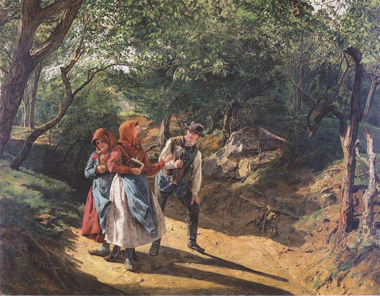 Meeting in the woods, 1863 - Фердинанд Георг Вальдмюллер