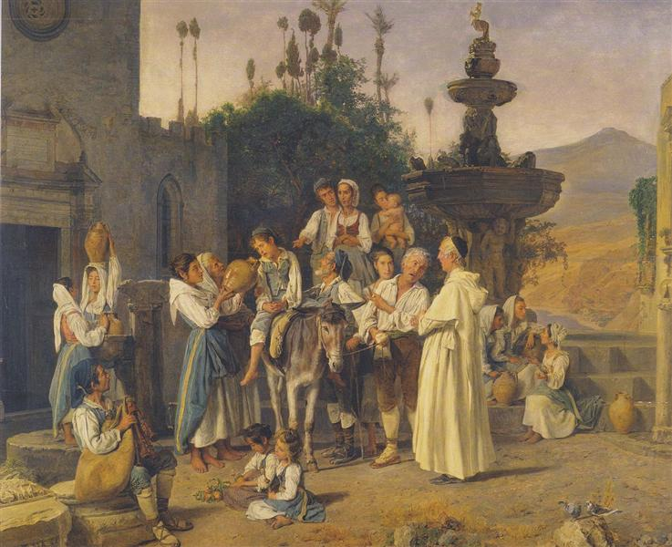 Refreshment at the city's fountain of Taorimina, 1846 - Ferdinand Georg Waldmüller