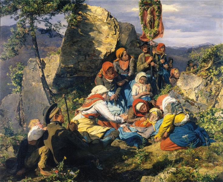 The sick pilgrim, 1859 - Ferdinand Georg Waldmüller