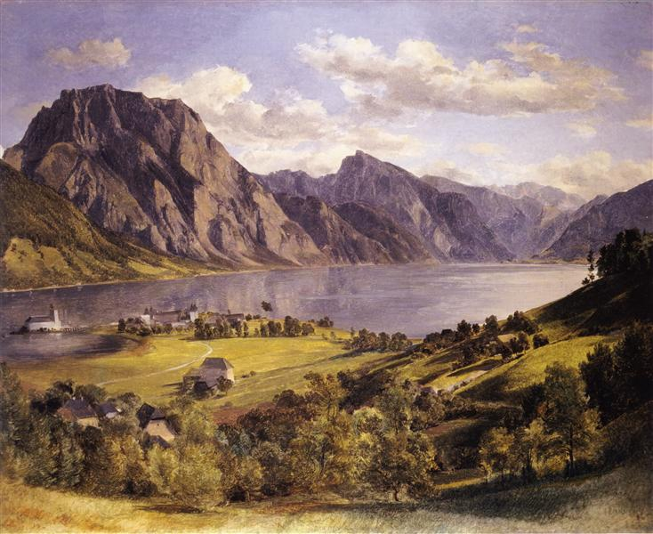 Traunsee with Orth-castle, c.1830 - Ferdinand Georg Waldmüller