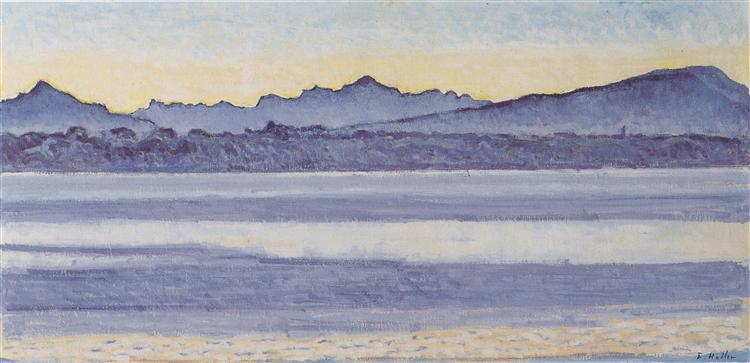 Lake Geneva with Mont Blanc in the morning light, 1918 - Ferdinand Hodler