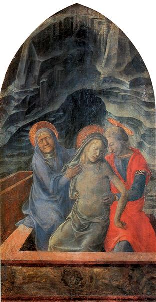 Dead Christ Supported by Mary and St. John the Evangelist, c.1435 - c.1440 - Filippo Lippi