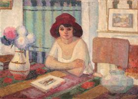 Young Woman in Interior - Francisc Sirato