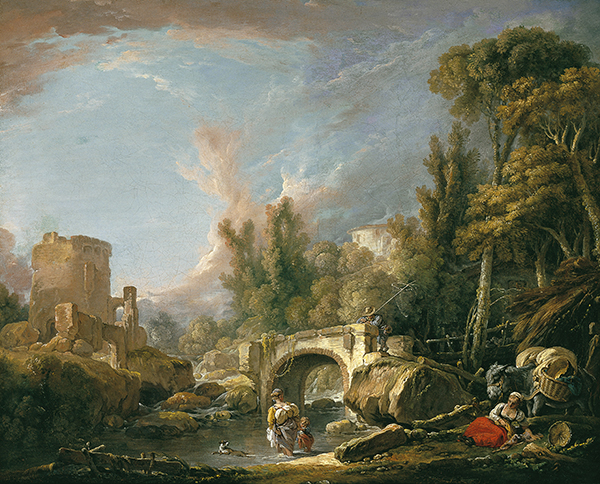 River Landscape with Ruin and Bridge, 1762 - Francois Boucher