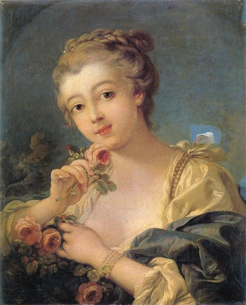 Young Woman with a Bouquet of Roses, 1760 - Francois Boucher