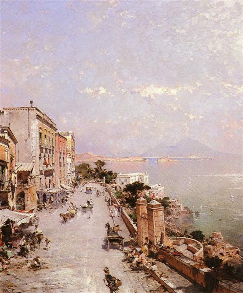 Una vista de Posilippo, Nápoles - Franz Unterberger Richard