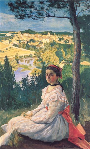 View of the Village of Castelnau-le-Lez, 1868 - Frederic Bazille