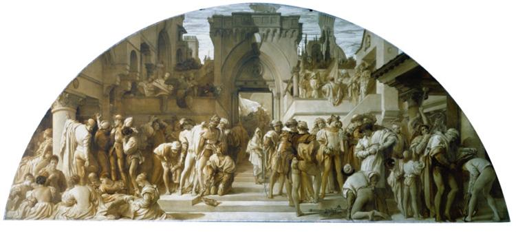 "Cartoon for the fresco ""The Arts of Industry as Applied to War"", c.1870 - Frederic Leighton, 1. Baron Leighton"