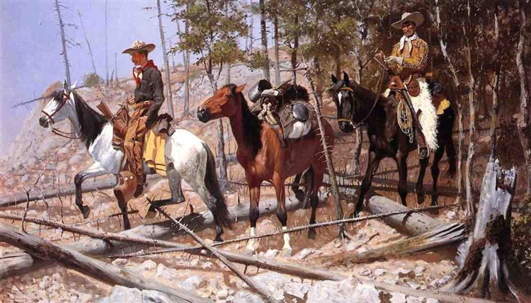 Prospecting for Cattle Range, 1889 - Frederic Remington