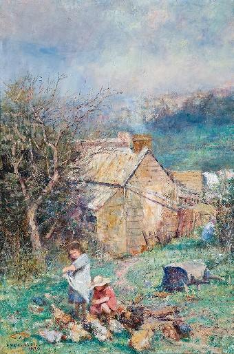 The cottage children (Rain and sunshine), 1910 - Фредерик Мак-Каббин
