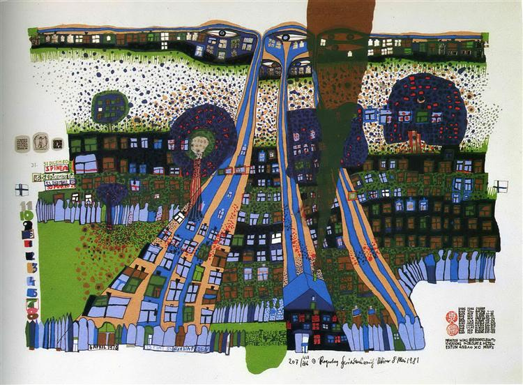 818 Let Us Pray Manitou Wins, 1981 - Friedensreich Hundertwasser