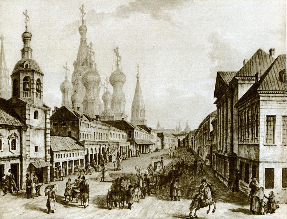 View of Moskvoretskaya Street, Zaryadye, Moscow, 1800