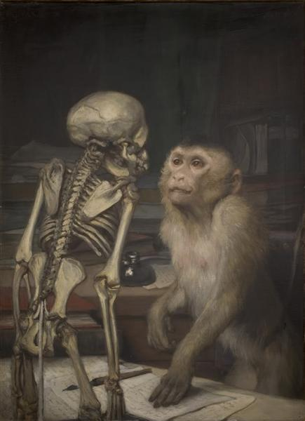 Monkey before skeleton, 1900 - Gabriel von Max