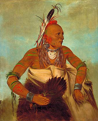 Osage warrior of the Wha-sha-she band (a subdivision of Hunkah), 1834 - George Catlin