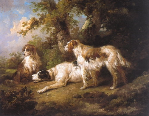 Dogs In Landscape - Setters & Pointer, 1792 - George Morland