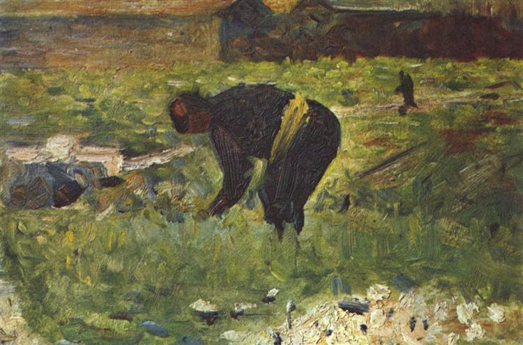 Farmer to work, 1883 - Georges Seurat