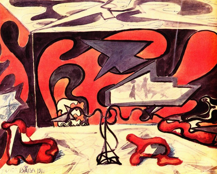 design for living room furnishings 1918 giacomo balla - Living Room Furnishings