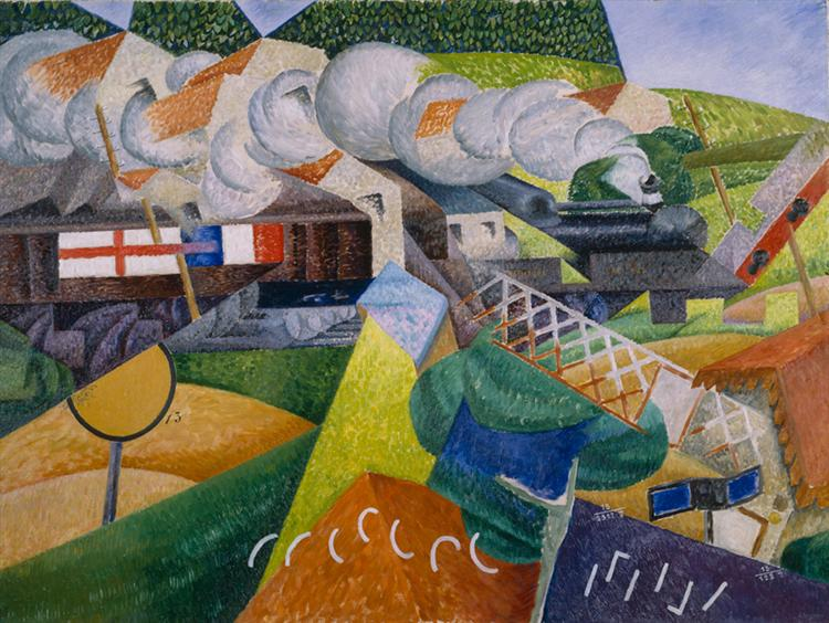 Red Cross Train Passing a Village, 1915 - Gino Severini