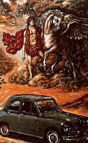 Poster for Fiat 1400 - Giorgio de Chirico