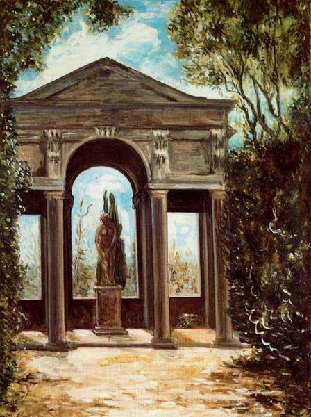 Villa Medici, pavilion with statue - Giorgio de Chirico