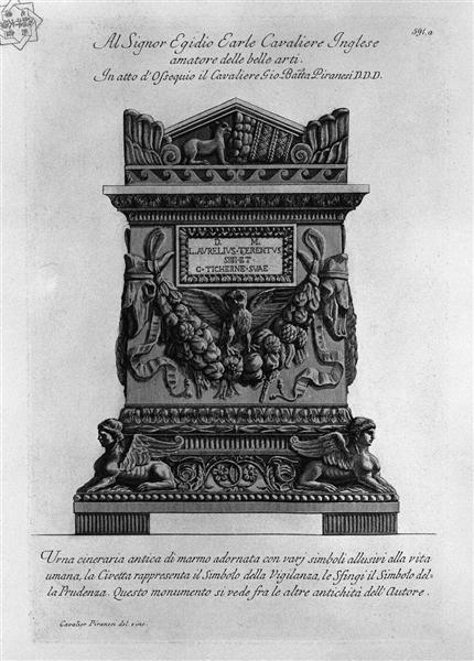 Ancient marble urn adorned with various symbols alluding to human life - Giovanni Battista Piranesi