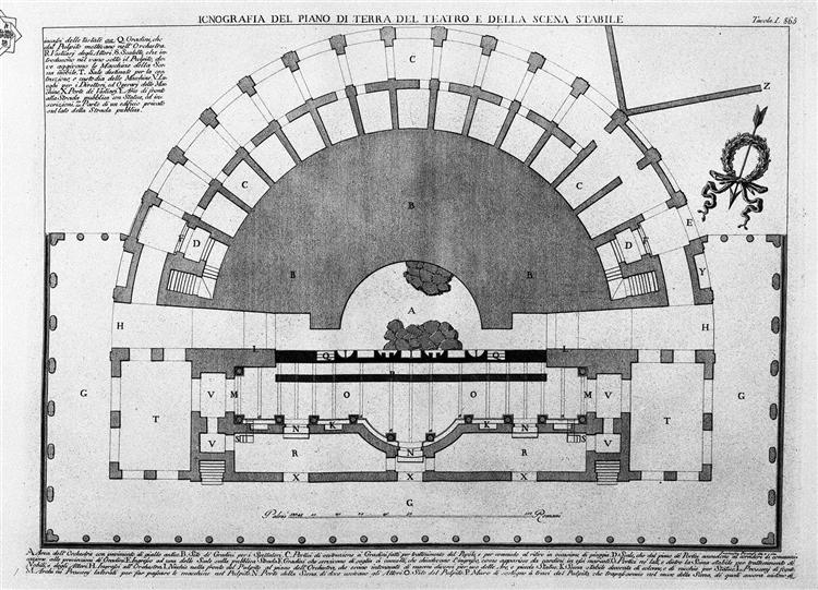 Ground plan of the ground floor of the theater and the ...