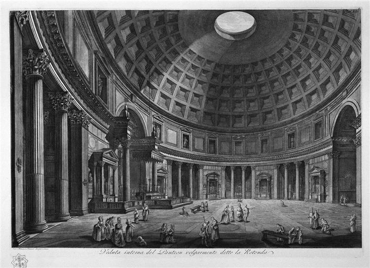 Interior view of the Pantheon commonly known as the Rotunda - Piranesi Giovanni Battista