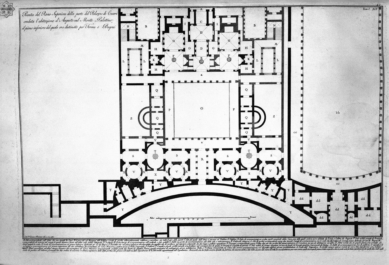 The Roman antiquities, t. 1, Plate XLIV. Plan of Mount Capitoline and its fortress; Perspective of the two horns or stones that stood in the sides of the Capitoline, 1756