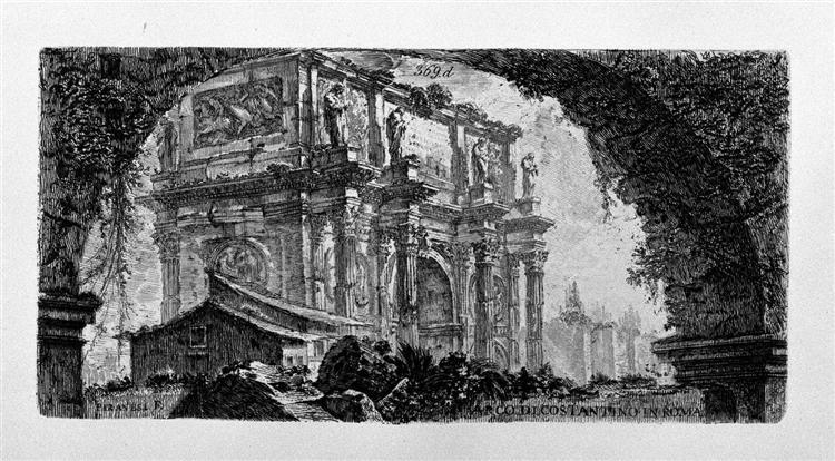 View of the Arch of Augustus d`Aosta (dis Newdigate by R, F inc Piranesi) - Giovanni Battista Piranesi