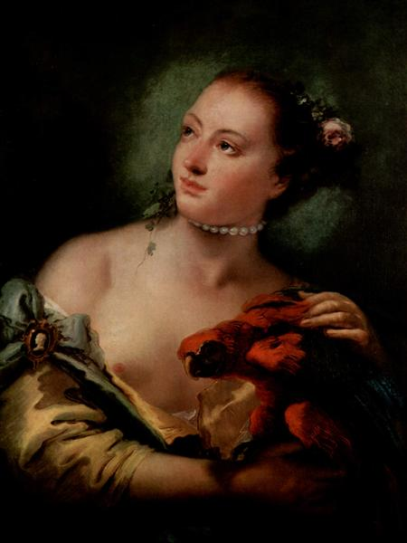 A Young Woman With a Macaw, c.1758 - c.1760 - Giambattista Tiepolo