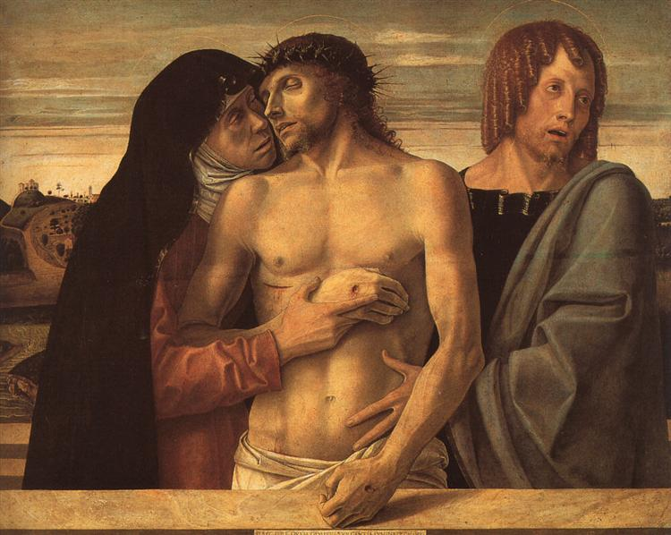 Dead Christ Supported by Madonna and St. John, 1460 - Giovanni Bellini