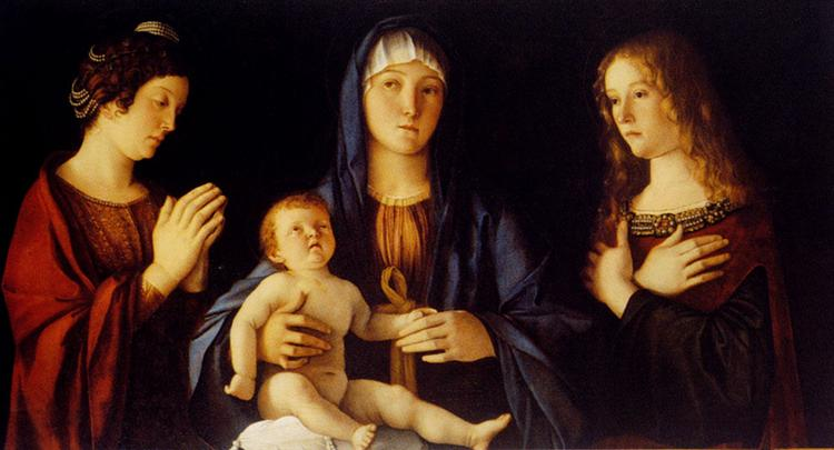 Virgin and Child with St. Catherine and Mary Magdalene - Bellini Giovanni