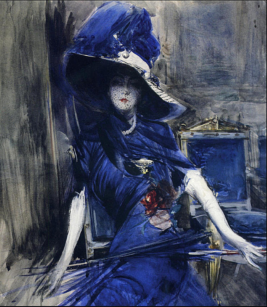 Giovanni Boldini: The Divine in blue (La Divina en azul).