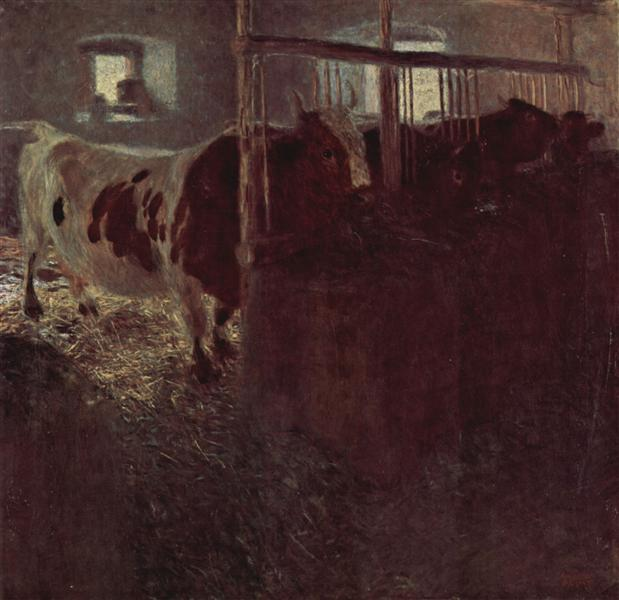 Cows in the barn, 1900 - 1901 - Gustav Klimt