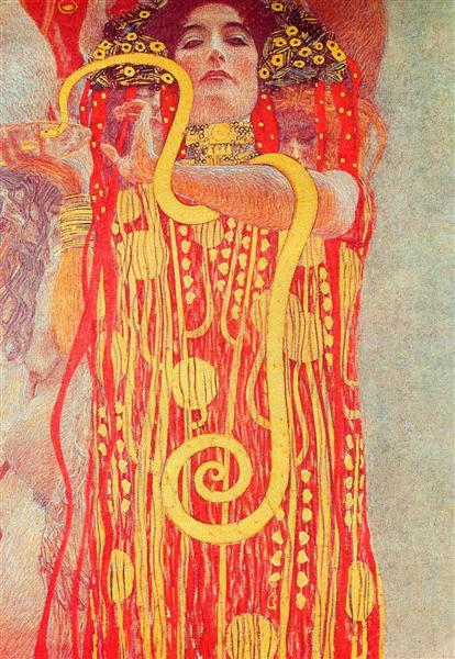University of Vienna Ceiling Paintings (Medicine), detail showing Hygieia - Gustav Klimt
