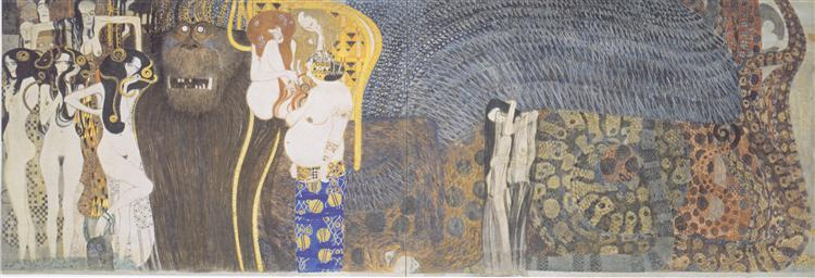 The Beethoven Frieze: The Hostile Powers. Far Wall, 1902 - Gustav Klimt
