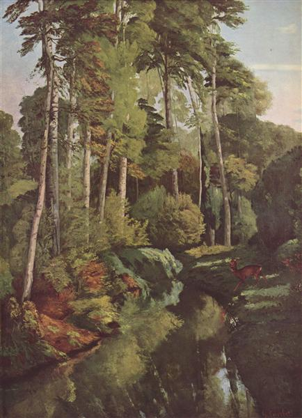 Forest Brook with Deer, 1868 - Gustave Courbet