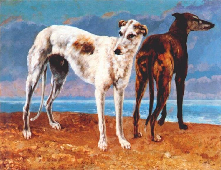 Greyhounds of Comte de Choiseul, 1866 - Gustave Courbet