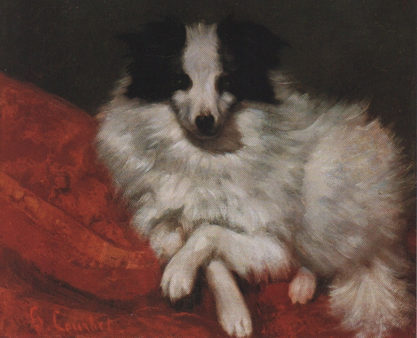 Sitting on Cushions Dog, 1855 - Gustave Courbet