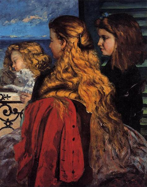 Three English Girls at a Window, 1865 - Gustave Courbet