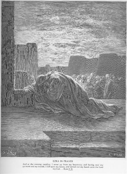 Ezra Kneels in Prayer - Gustave Dore