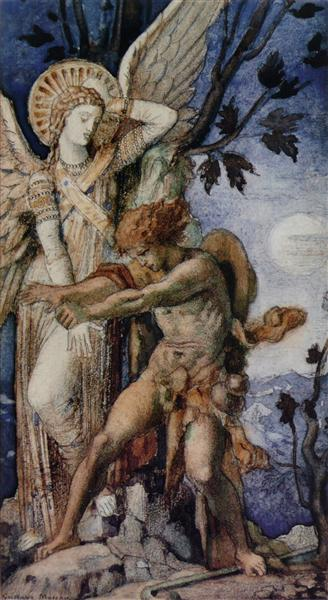 Jacob and the Angel - Gustave Moreau