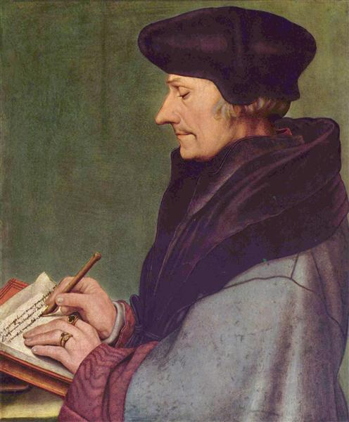 Portrait of Erasmus of Rotterdam Writing, 1523 - Hans Holbein the Younger