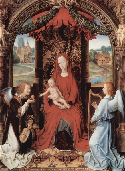 Madonna and Child Enthroned with Two Angels, 1480 - Hans Memling