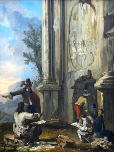 Zeichner in römischen Ruinen, 1635 - Heinrich Schonfeld