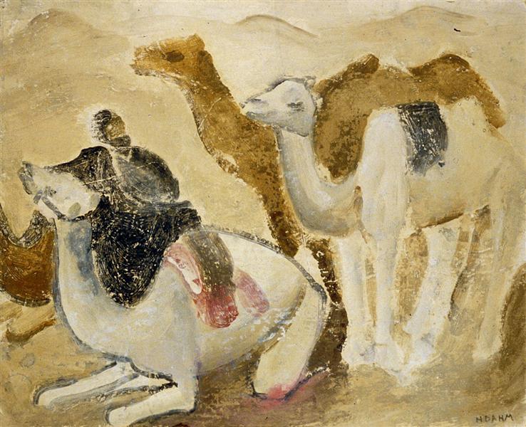 Kamele und Beduinen in der Wüste - Helen Dahm