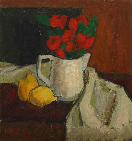 Composition with lemons and poppy, 1966 - Henri Catargi
